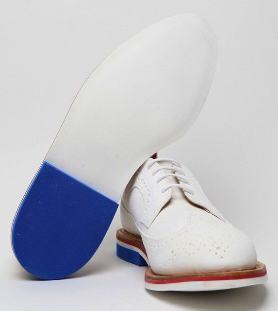 Thom Browne Men's White Wingtip Brogue with Micro Sole in white at oki-ni