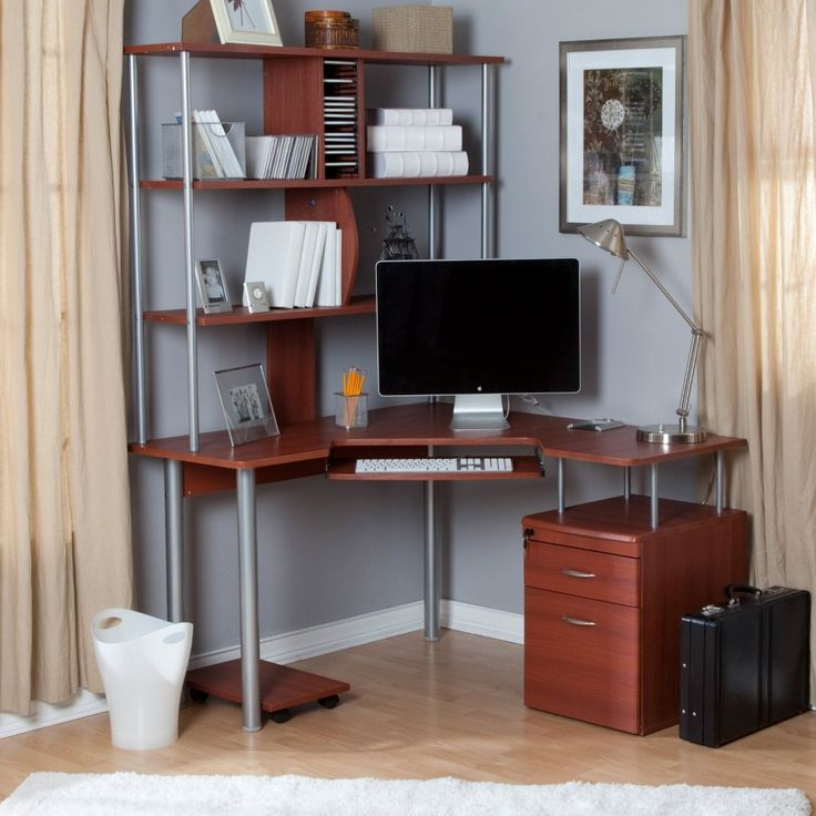 Corner Computer Desks For Your Home Office Furniture : Captivating DIY  Corner Wooden Computer Desk Integrated