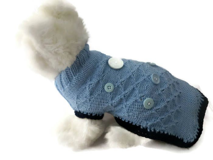Toy Poodle size dog sweater hand made in Blue and Navy decorated in Buttons Length 12 1/2 inches 32 cm by CUTIEDOG on Etsy