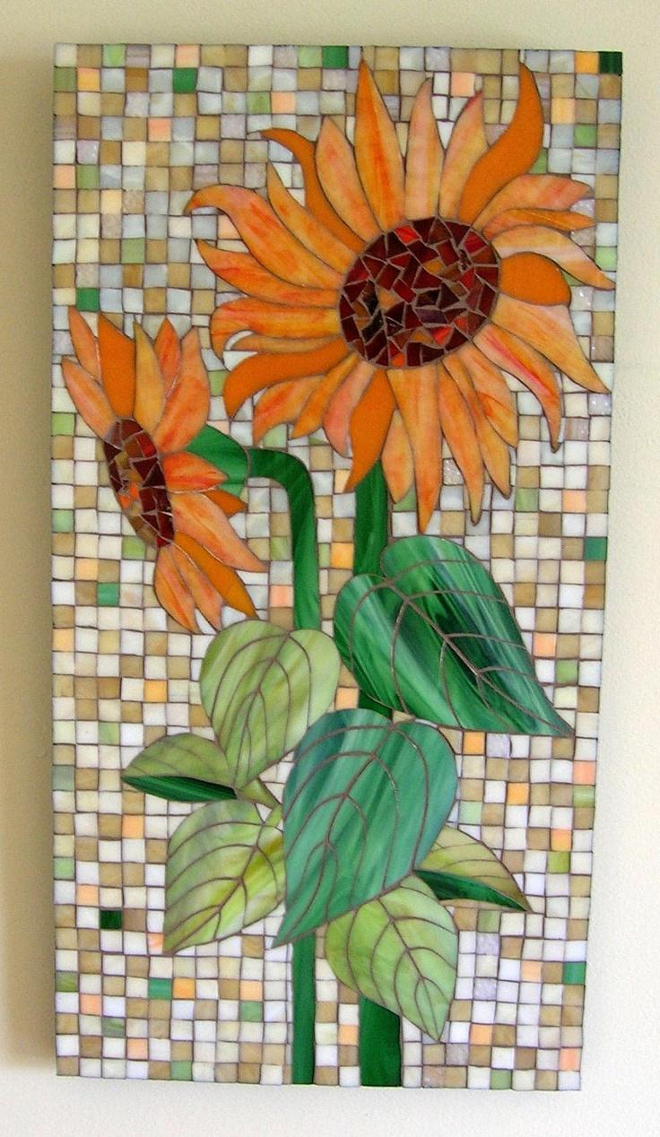 Orange Sunflower Glass Mosaic - GlassArtsStudio