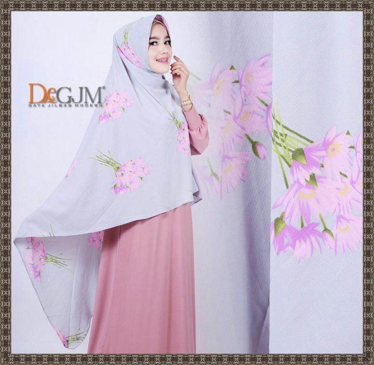 Jilbab Khimar Motif Bunga Cantik Asoka deGJM Hijab