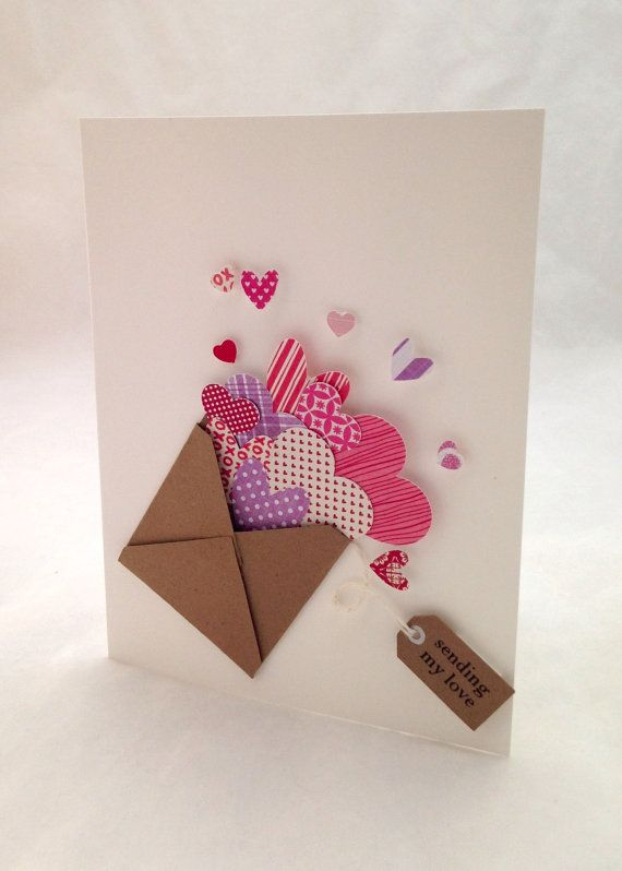 Handmade Valentine's Day Card Sending My Love by MEInk on Etsy, $4.00: