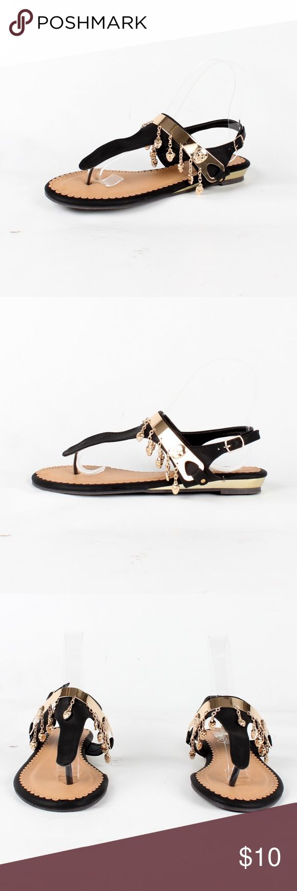 Slingback split-toe sandal (Jetta-10 Black) ¥ my boutique ¥                                                                                                                        😍All items brand new 😢No price negotiation please ✌🏻️Bundle for discounts 😬No trades & PayPal 😊Please feel free to ask any questions Shoes Sandals