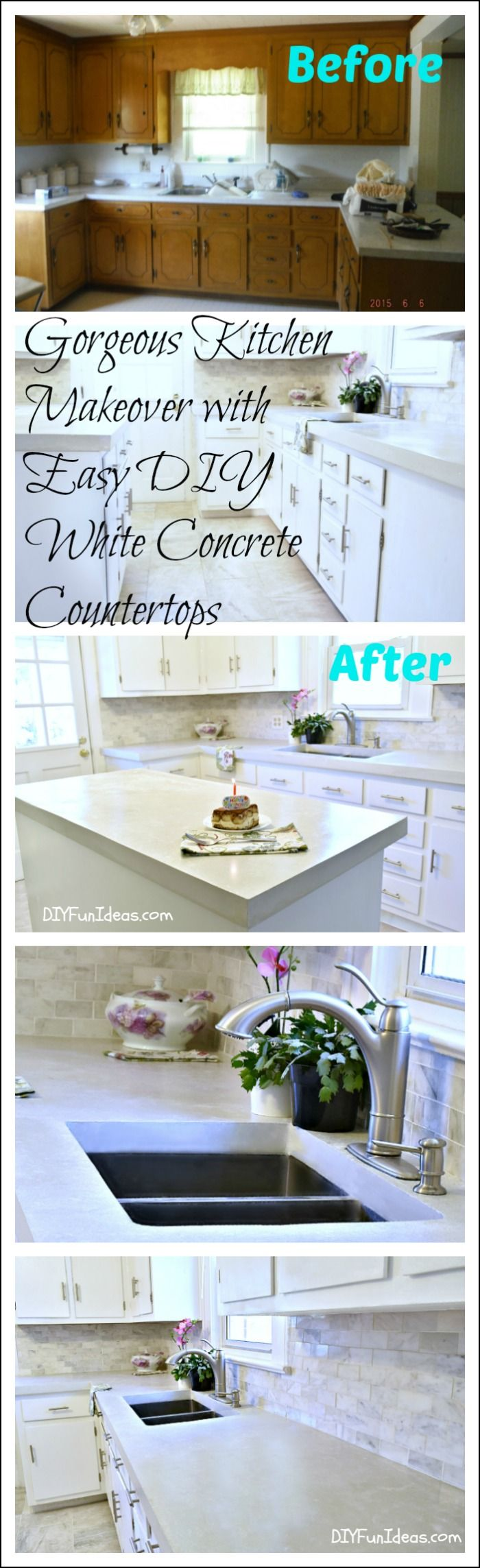 GORGEOUS BUDGET KITCHEN MAKEOVER WITH WHITE CONCRETE COUNTERTOPS