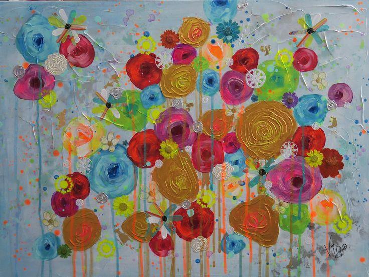"""""""Ils m'ont dit que les fleurs étaient jolies au paradis"""" by Vigo, artiste peintre"""