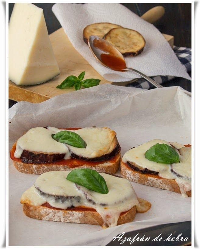 Azafrán de hebra: Tosta de berenjena y queso