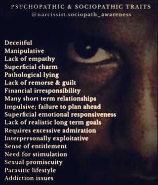 "Repost @narcissist.sociopath_awareness - ""I'm that smooth talking charmer that just made small talk with you at the grocery store. Or maybe I'm your personal trainer, or insurance representative, or pastor. Keep your eyes open & your brains on or I'll woo you with my false promises & misguided adoration. I'll take what I want-- no, I'll make you GIVE it to me-- then I'll be gone...until I need something from you again.  How many of these traits applied in your experience?"""
