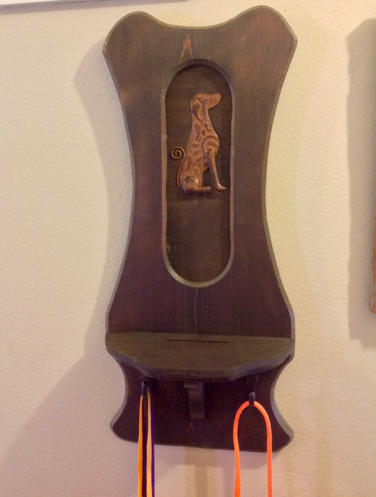 $15  Repurposed cowboy hat holder into dog treat shelf and leash holder. Measures approx. 24 x 10.5 inches