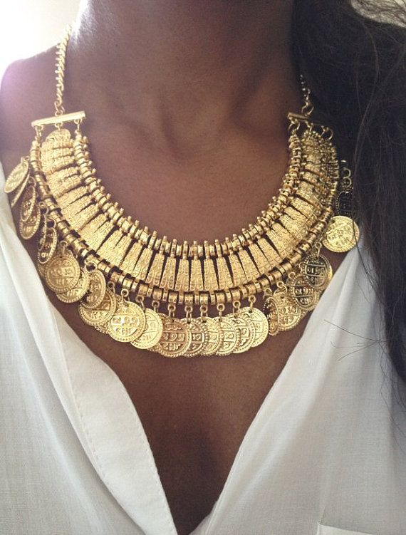 Gold Coin Gypsy Boho Necklace by AceVintage2012 on Etsy, £14.99