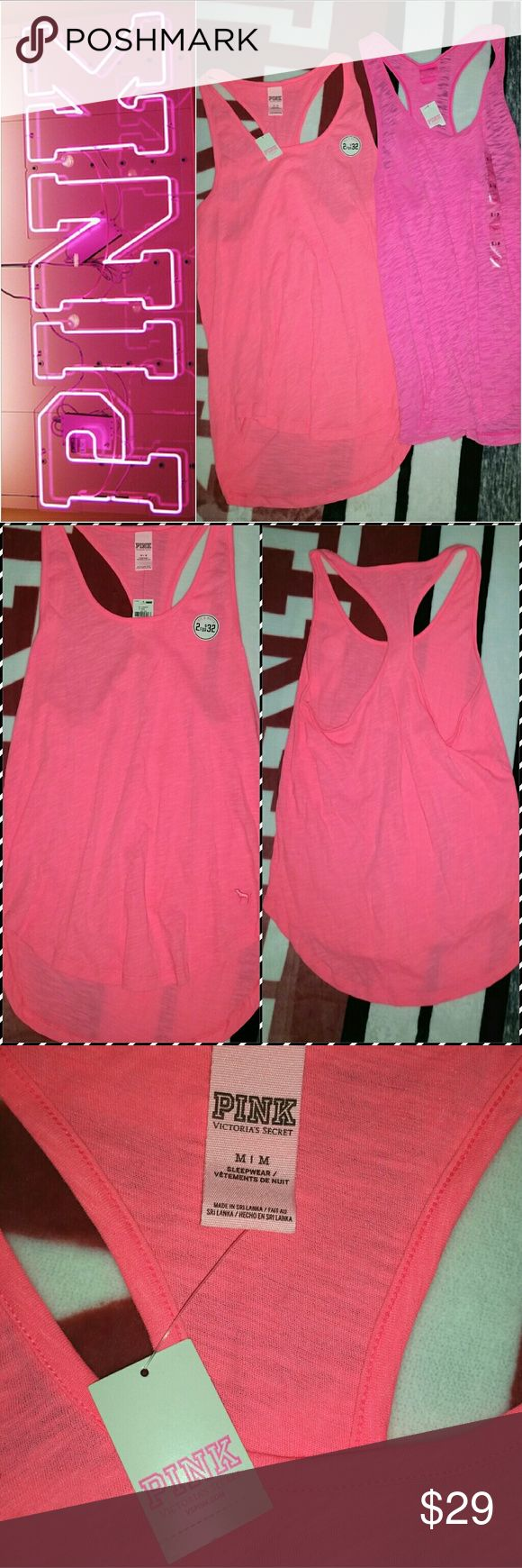 VICTORIA SECRET PINK TANK TOP NEON CORAL M NWT Nwt.. Size medium.. Listing is for one coral tank top.. No trades! PINK Victoria's Secret Tops Tank Tops