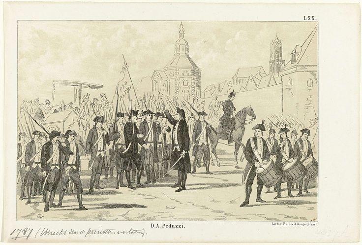 Uittocht van patriotten uit Utrecht, 15-16 september 1787, bij het naderen van de Pruisische troepen, Christiaan Lodewijk van Kesteren, Emrik & Binger, 1853 - 1861