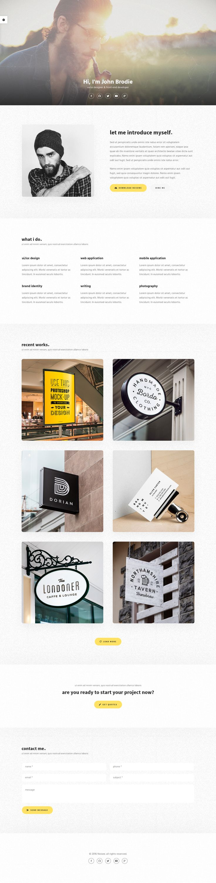 Fully responsive and easy for you to edit. Noisee with modern & clean design. Template focused on web-designers, digital professionals, programmers or photographers. It is perfect to promote your work!