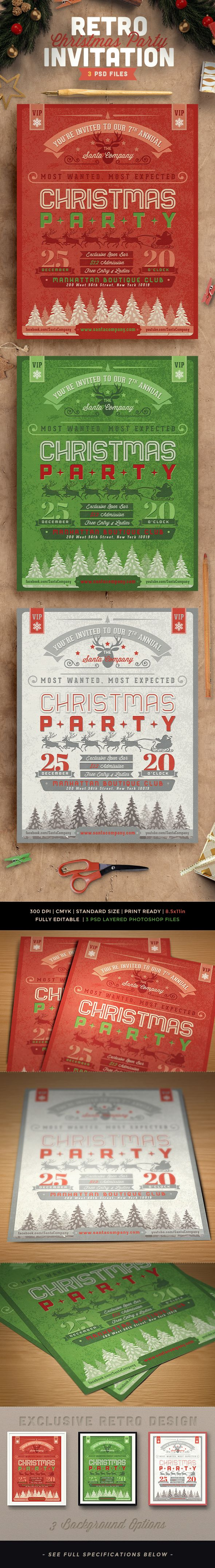 Retro Christmas Party Invitation on Behance