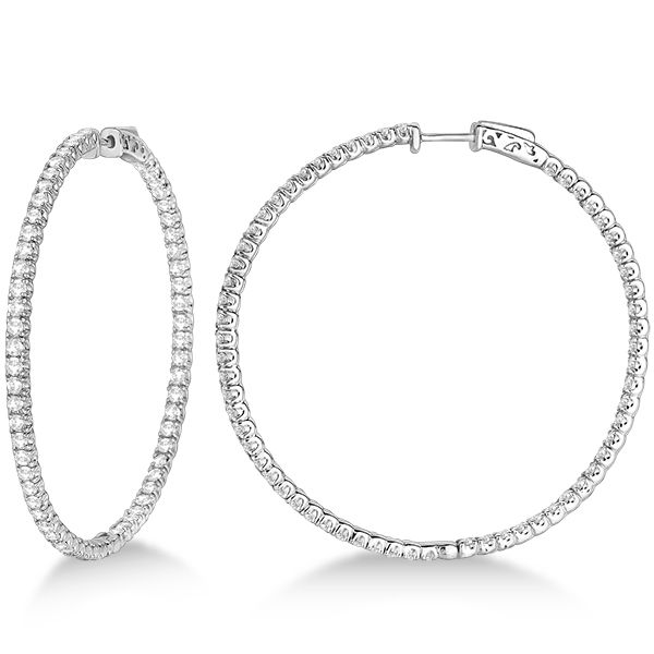 X Large Round Diamond Hoop Earrings 14k White Gold 5 15ct