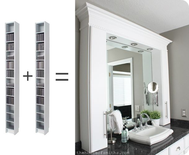 Bathroom vanity cabinets made from IKEA cd towers. Love the way it turned out! This husband & wife duo have tackled TONS of DIY projects (and they show you how to do it all). Great website!
