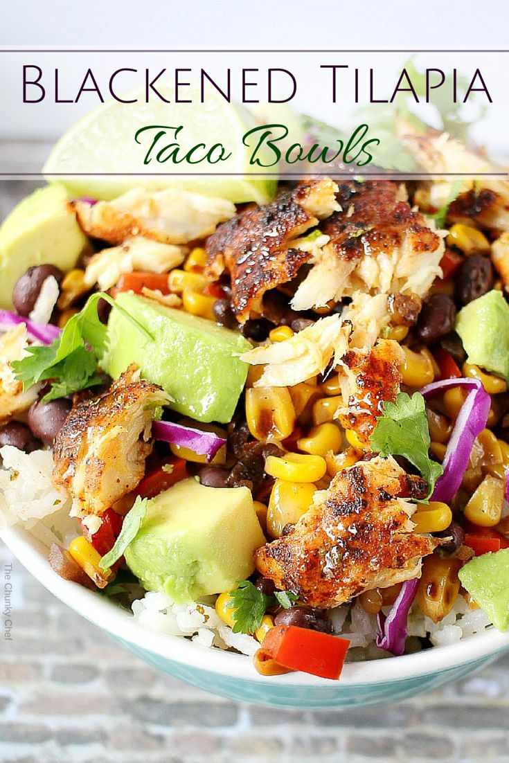Blackened Tilapia Taco Bowls ~ Taco bowls get a healthy twist with the addition of spicy tilapia filets, garnished with buttery avocados and a splash of fresh lime juice!
