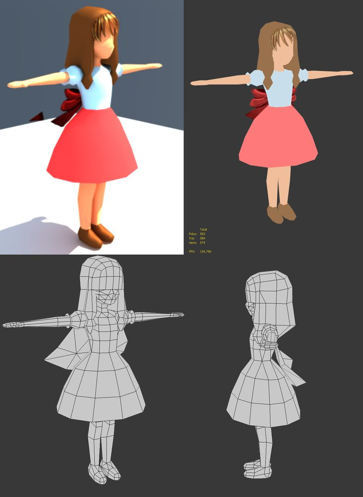 Low Poly Character Modeling Blender : A manga low poly character by marcus aseth work in