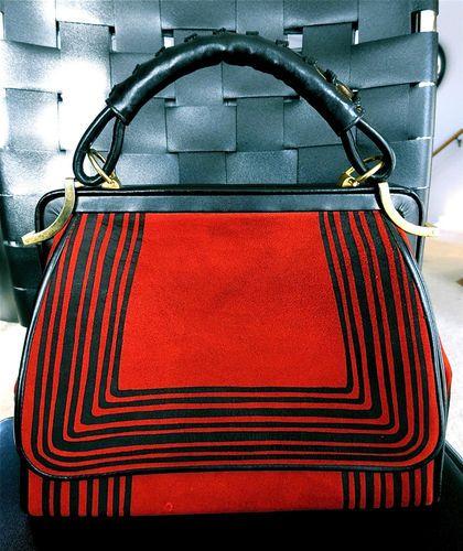 Vintage Roberta Di Camerino RARE Suede Red Black Leather Kelly Purse Look | eBay