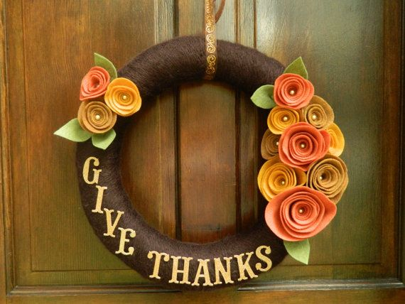 READY TO SHIP Thanksgiving Wreath - Fall Wreath - Yarn Wrapped Wreath with Felt Flowers - Give Thanks - 16 inch