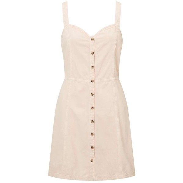 Miss Selfridge Peach Button Pinafore Dress ($61) ❤ liked on Polyvore featuring dresses, apricot, peach dresses, miss selfridge, pink pinafore dress, pinny dress and pink dress