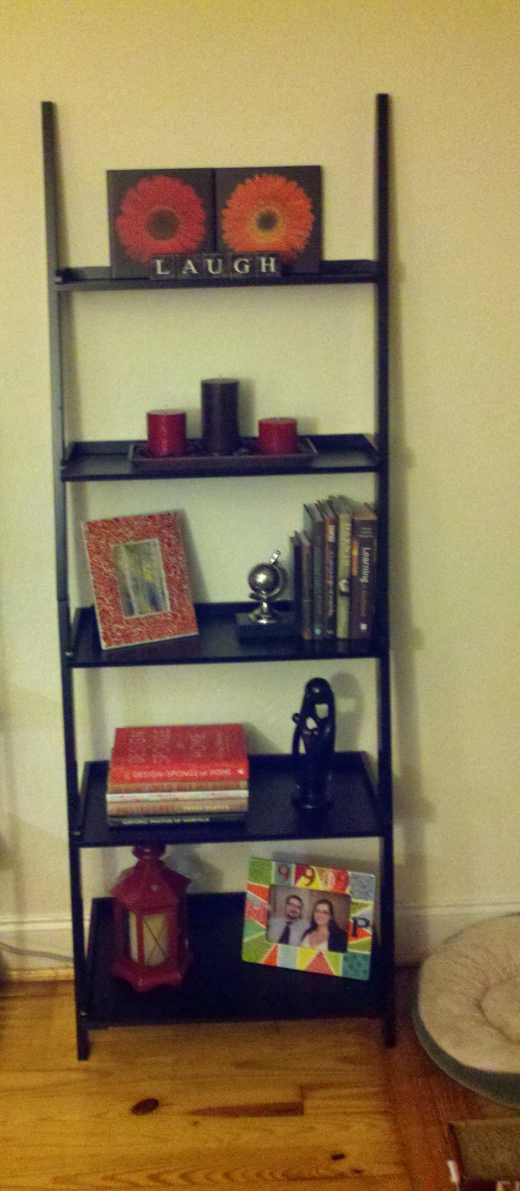 So excited about our new ladder shelf and all of the decorations I got from tj maxx home goods!