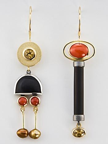Earrings | Janis Kerman. 18k gold, sterling with patina, beryl, onyx, coral, pearls