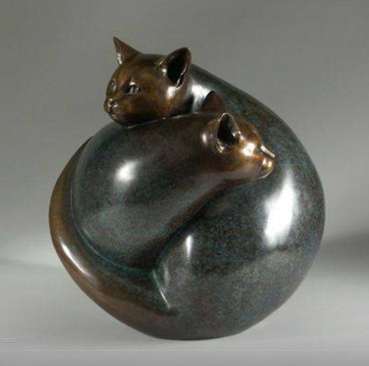 "Georgia Gerber ""Wrapped Cats"" - Bronze Sculpture 1996"