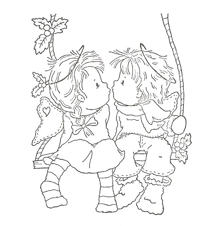 kleurplaat jongen en meisje op schommel