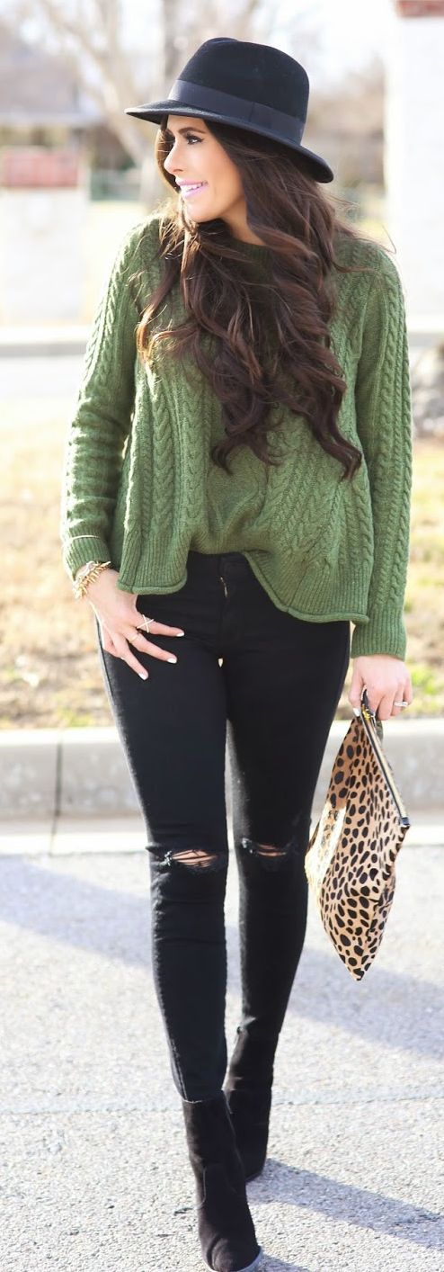 Olive And Black Winter Outfit by The Sweetest Thing