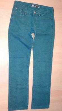Damen Hose Jeans Stretch mit Glitzernden Steinen  Nieten und Knopf Gr.40 in Grün v.Simply Chik