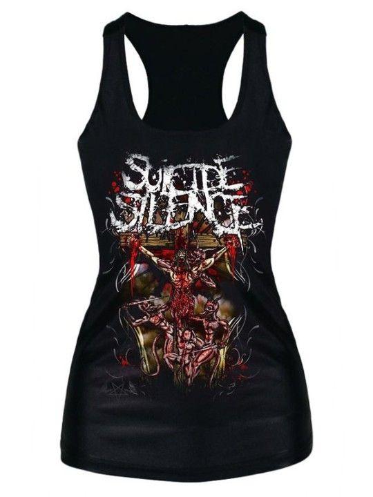 Fashion Women's Summer Black Print Tank Tops Blouse Gothic Punk T-Shirts