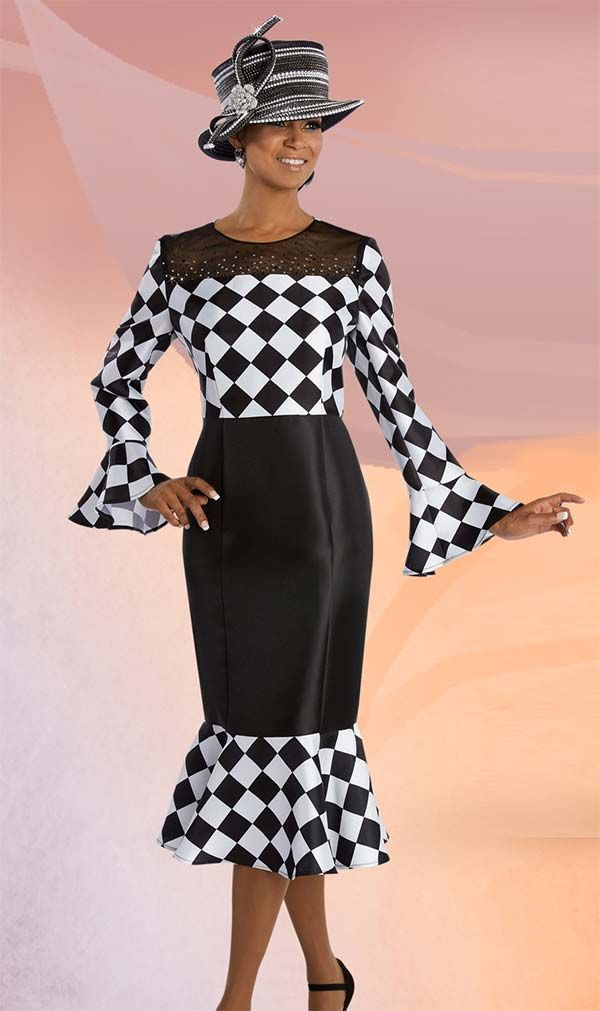 Donna Vinci 11607 Flounce Trim Dress With Checked Pattern & Black Mesh Front