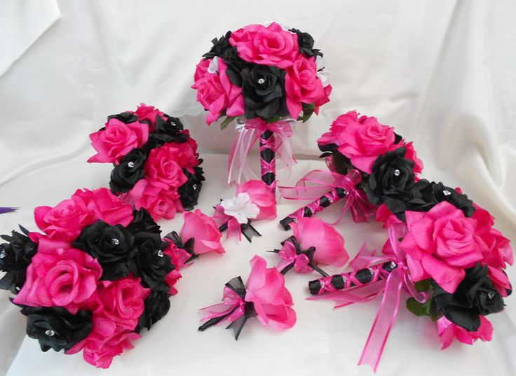 Your Colors 18 Fuchsia Hot Pink Black Roses Wedding Bridal Bouquets Toss Bridesmaids  Boutonniere Corsages. $200.00, via Etsy.I think this is the one I would order have to sleep on it though