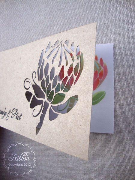 Laser cut Protea invitation from Ribbon Wedding Stationery ...
