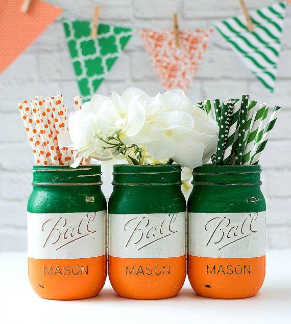 Irish Flag Mason Jar Vases Painted Distressed Irish Flag