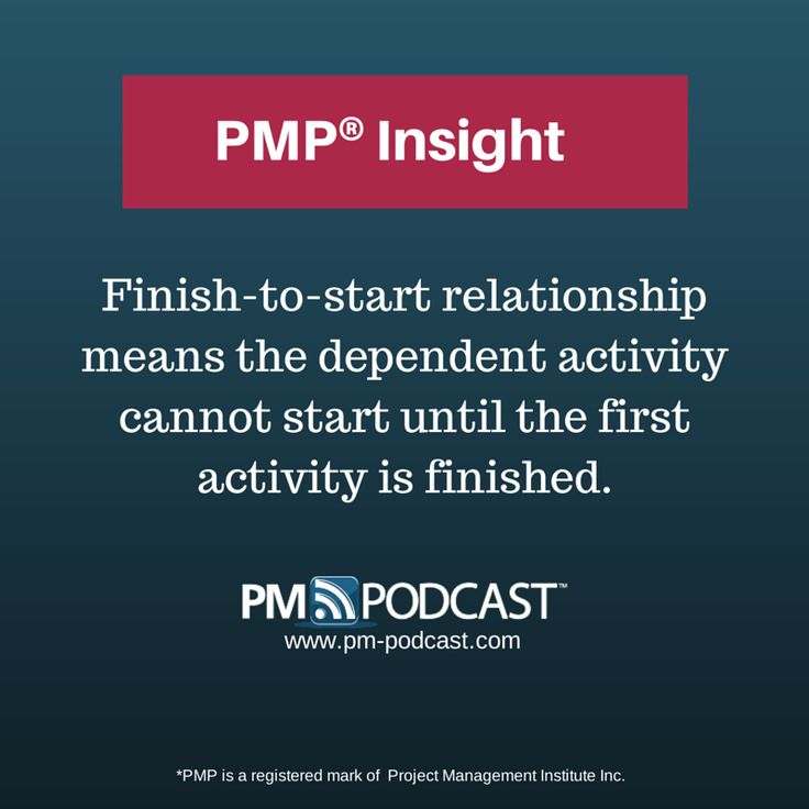 PMP Insight: Finish-to-start relationship means the dependent activity cannot start until the first activity is finished. #PMP