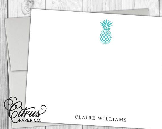 pineapple personalized stationery flat note cards stationary