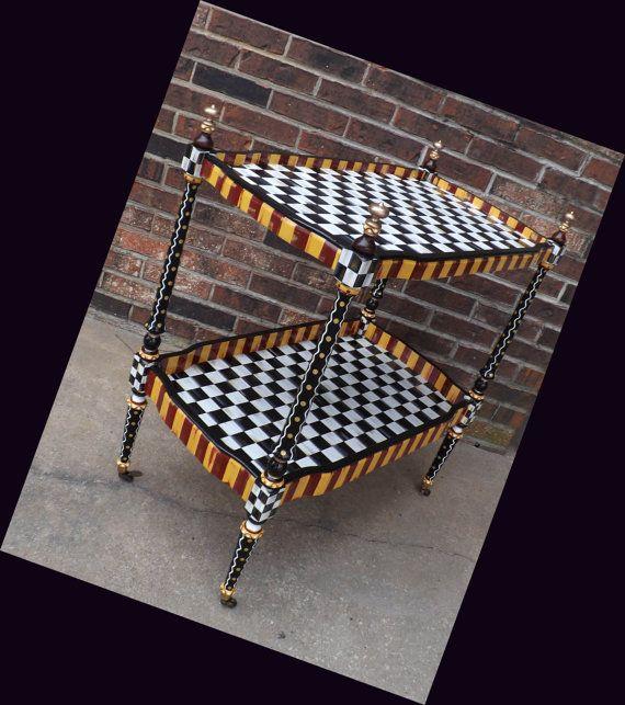 Mackenzie Childs Inspired Hand Painted Bar/Serving Cart Black U0026 White  Checks Table