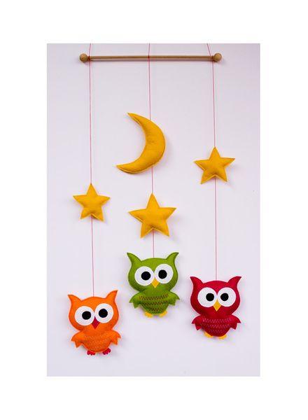 Mobile Eulen  Sterne Kinderzimmer Dekoration  von Stoffdekor auf DaWanda.com