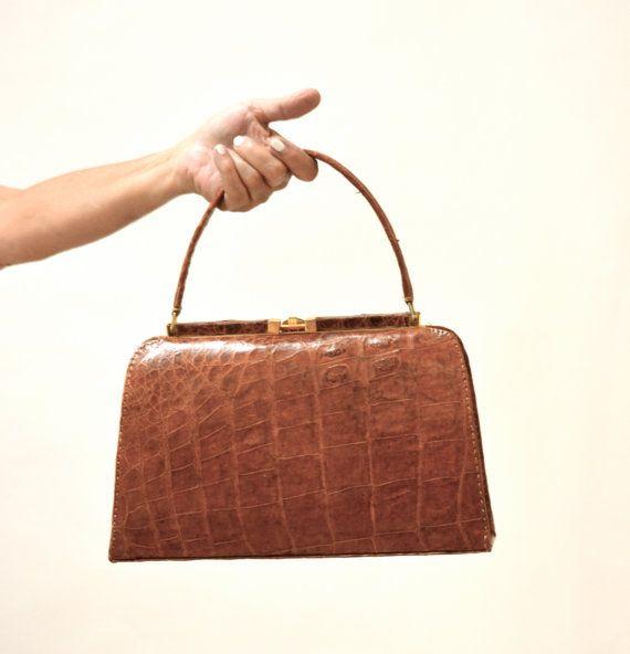 Vintage Brown Leather Hand Bag Purse// Vintage by Hookedonhoney