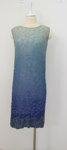 Blue ombre shaded 1920s beaded evening dress with Chinoiserie motif