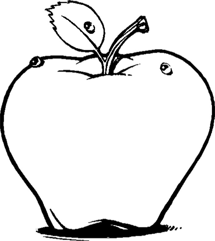 Fresh Red Apple Fruit Coloring Pages Kids