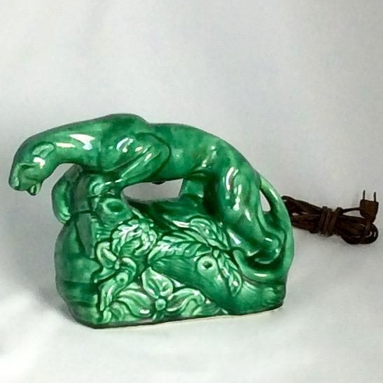1950s Vintage Green Panther TV Lamp