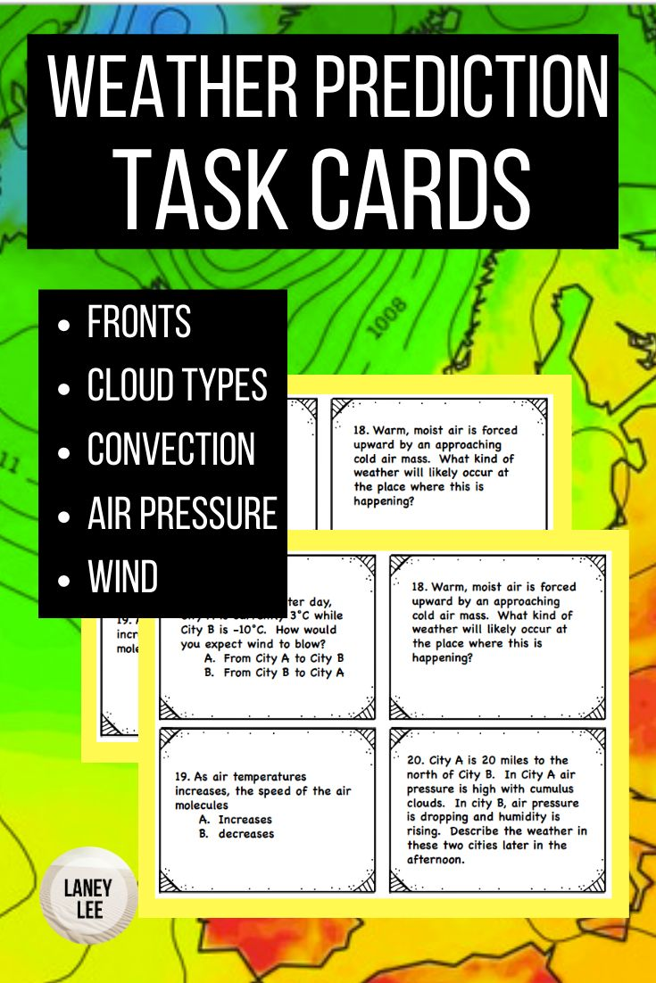 Weather Prediction Task Cards Weather predictions, Earth