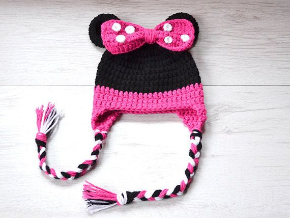 Minnie Mouse Hat Crochet Baby Girl Hat Minne by MyCrochetLand