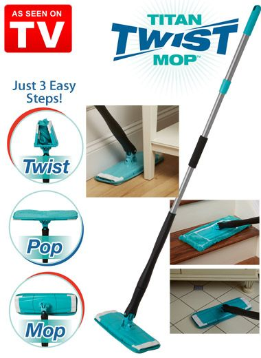 Dual-power microfiber mop head with an absorbent shammy interior attracts dirt, cuts through grease and sucks up wet messes. Rinse it easily in the sink and wring it out with just a twist! Use it dry to pick up dust and pet fur, too.