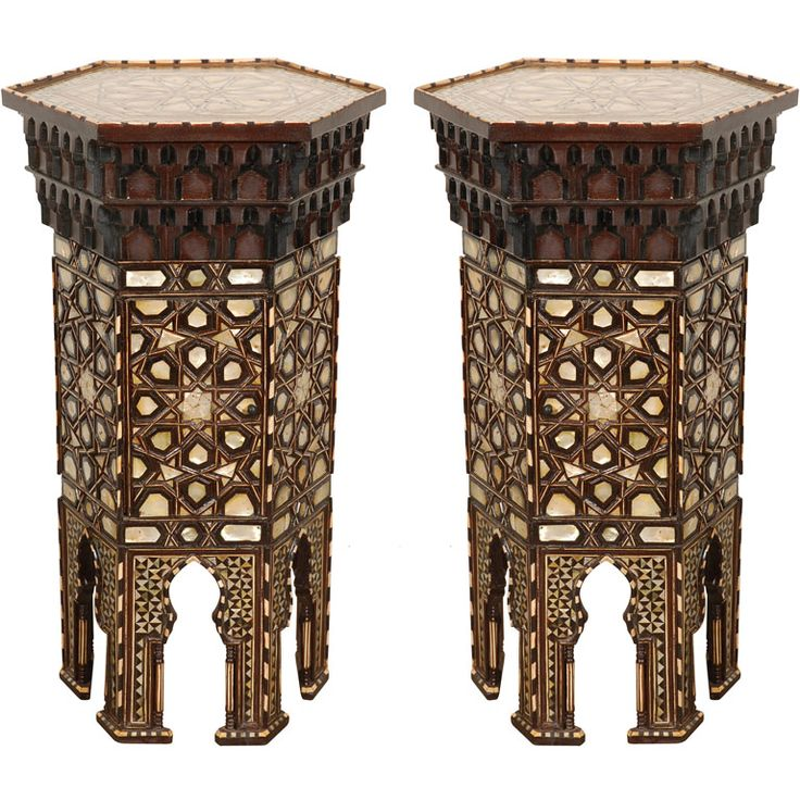 pair of ottoman high pedestal tables • tortoise shell, horn and mother of pearl • 19th C
