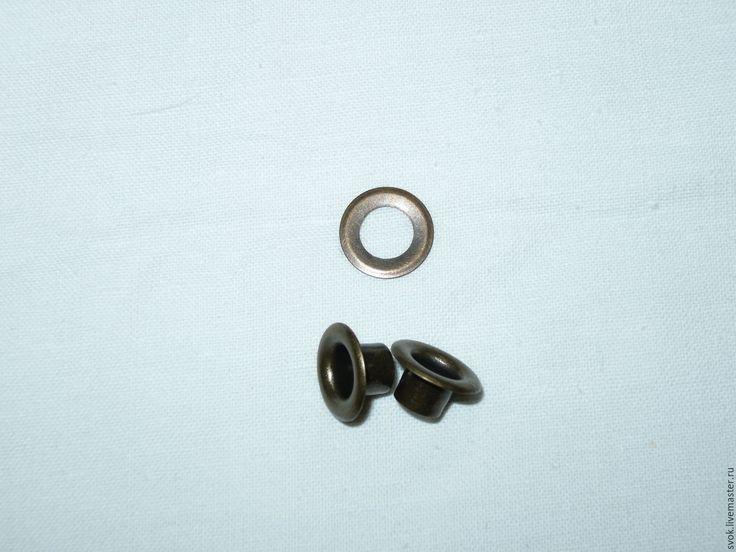 Купить Люверсы стальные с кольцом. №4 (6мм) под бронзу - коричневый, бронза, бронзовый, антик
