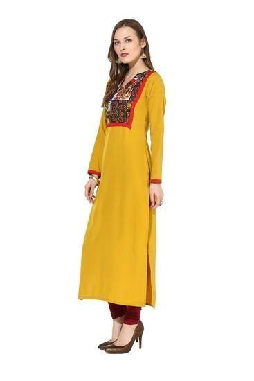 LadyIndia.com #Kurtis, Designer Cotton Yellow Kurti For Women, Kurtis, Kurtas, Cotton Kurti, https://ladyindia.com/collections/ethnic-wear/products/designer-cotton-yellow-kurti-for-women