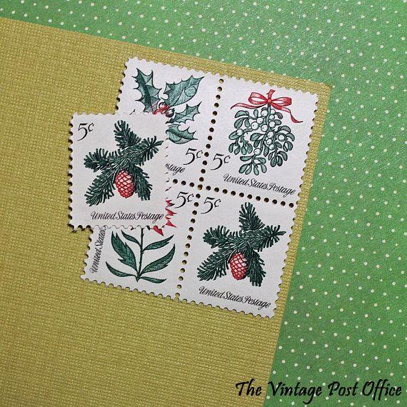 Ten 5c Christmas Flora .. Vintage Unused by TheVintagePostOffice